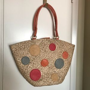 INGE Christopher Polka Party Dot Woven Super Tote